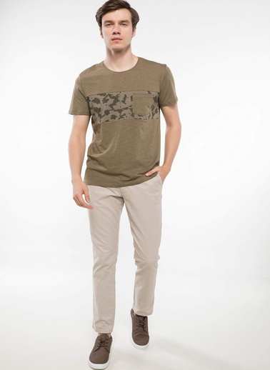 DeFacto Cep Detaylı T-shirt Haki